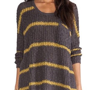 Free People Yellow and Grey Striped Sweater